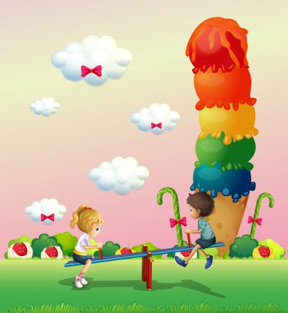 Illustration of a girl and a boy playing at the park with a giant icecream Vector