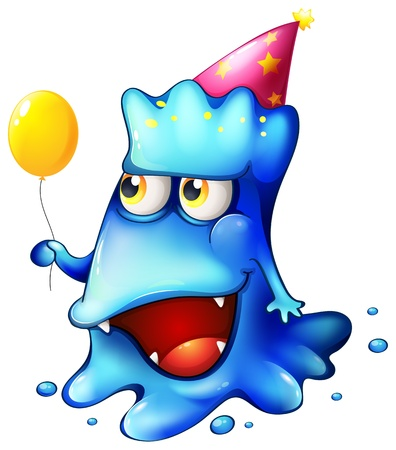 Illustration of a blue monster celebrating on a white background