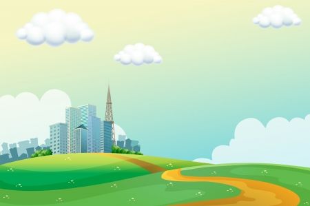 Illustration of the hills across the tall buildings Stock Vector - 21658709