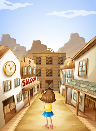 aisle: Illustration of a little girl in the middle of the saloon bars Illustration