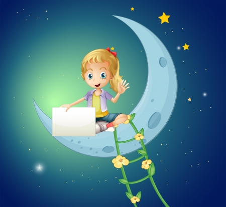Illustration of a girl sitting at the moon while holding an empty signage Vector