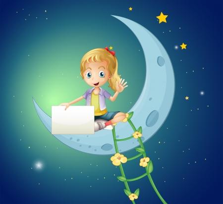 estrella caricatura: Ilustración de una chica sentada en la luna, mientras que la celebración de una señalización vacía
