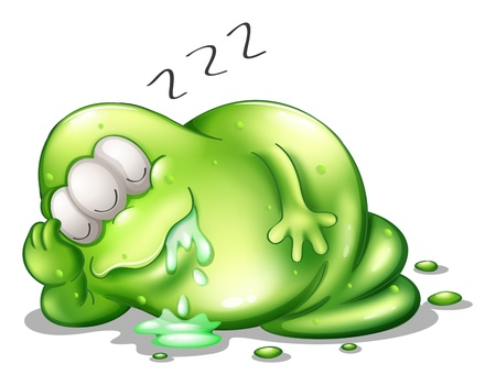 salivating: Illustration of a greenslime monster sleeping on a white background