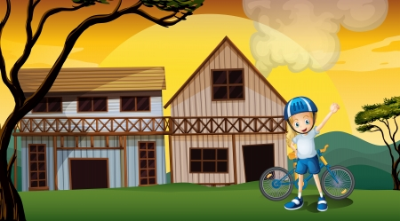 Illustration of a female biker in front of the two wooden farmhouses Vector