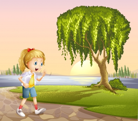 Illustration of a girl walking hurriedly Vector