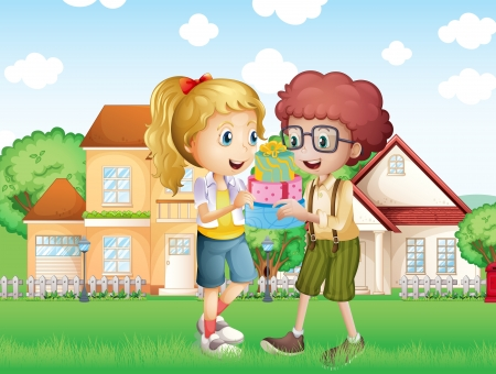 house exchange: Illustration of a boy and a girl exchanging gifts in front of the village