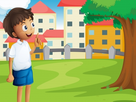 Illustration of a boy standing near the tree Vector