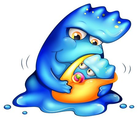 animated alien: Illustration of a caring blue monster on a white background