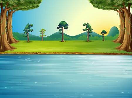 circundante: Ilustra��o de uma floresta com um rio Ilustra��o