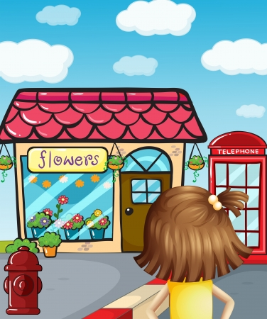 Illustration of a young girl in front of the flower shop Vector