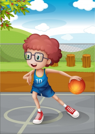 play ground: Illustration of a young boy playing basketball wearing a blue uniform Illustration