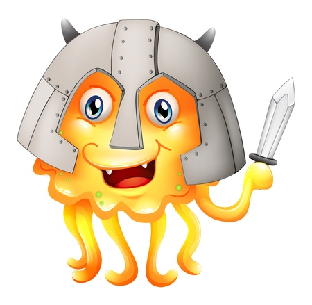 eye protectors: Illustration of a monster with a sword and a helmet on a white background