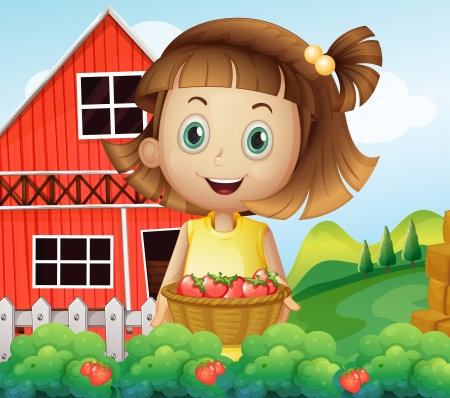 Illustration of a girl harvesting at the strawberry farm Vector