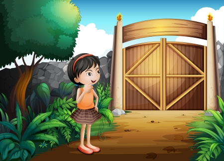 gated: Illustration of a gated yard with a young girl