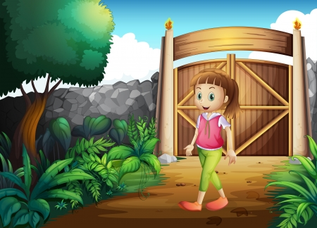 Illustration of a young girl at the gated yard Vector
