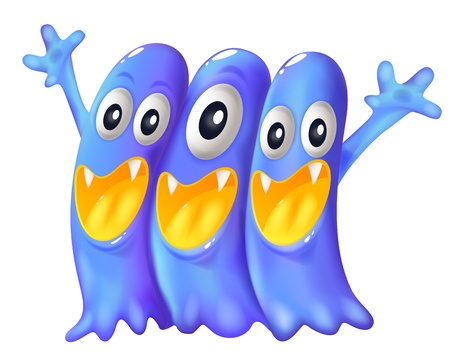 Illustration of the three playful blue monsters on a white background Vector