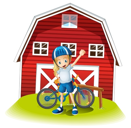 barnhouse: Illustration of a female biker standing in front of the red barnhouse on a white background