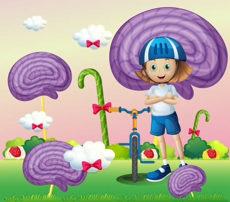 Illustration of a young female biker surrounded with giant spiral lollipops Vector