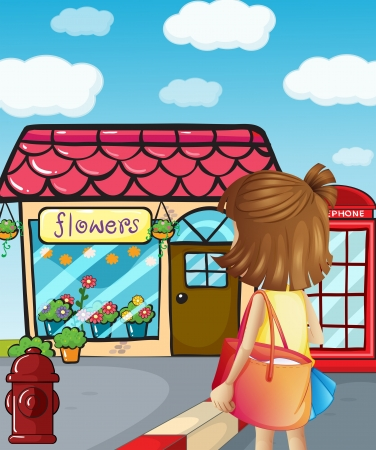 payphone: Illustration of a young girl going to the flowershop
