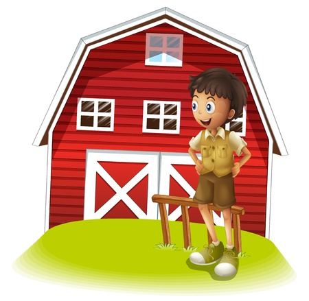 Illustration of a boy standing in front of the red barnhouse on a white background Stock Vector - 21658763