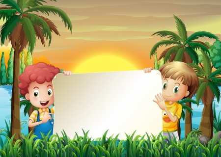 coconut leaf: Illustration of the two kids at the riverbank holding an empty signage Illustration