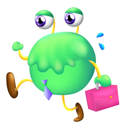 alien clipart: Illustration of a working monster on a white background