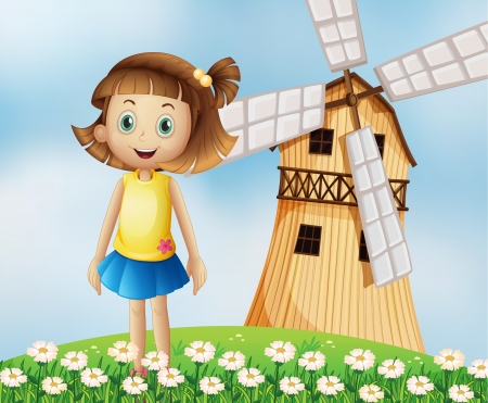 hillside: Illustration of a young girl at the top of the hill with a windmill