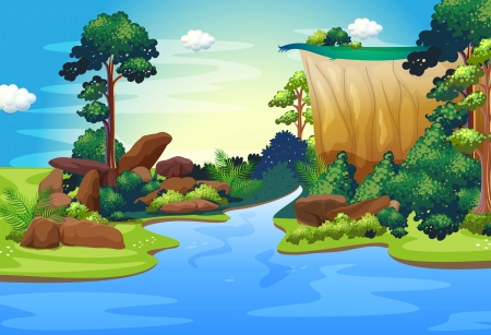 Illustration of a forest with a deep river Vector