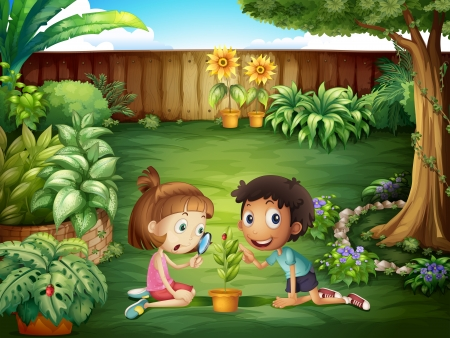 Illustration of the two adorable kids studying the ladybug at the yard Vector