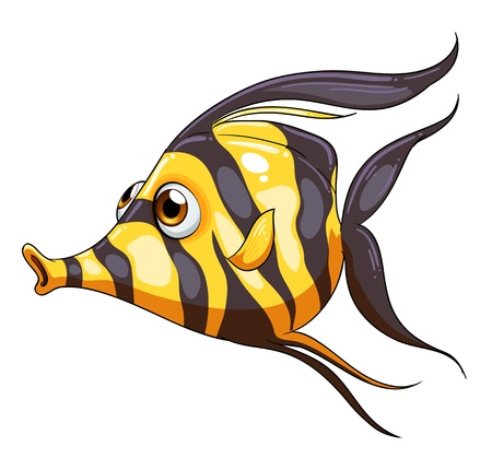 fish clipart: Illustration of a stripe-colored fish on a white background Illustration