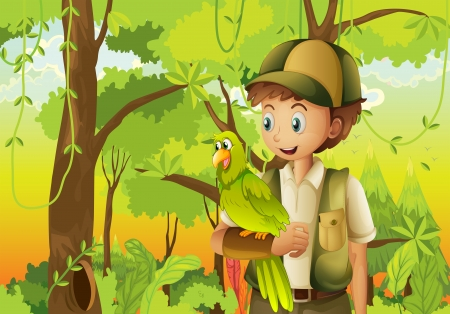 Illustration of a young boyscout with a parrot Vector