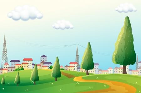 Illustration des collines à travers le quartier Banque d'images - 21658775