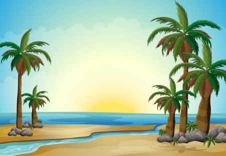 rock formation: Illustration of the palm trees at the beach