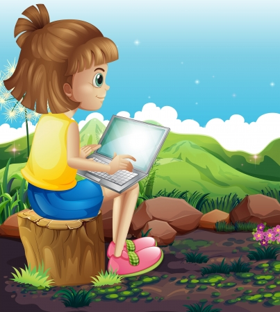 laptop outside: Illustration of a young girl sitting above the stump while using the laptop Illustration