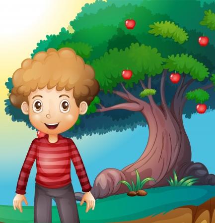 arbol de manzanas: Ilustración de un niño de pie delante del manzano