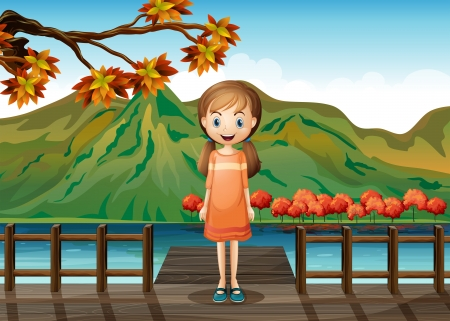 sea seaport: Illustration of a young girl standing in the middle of the wooden bridge
