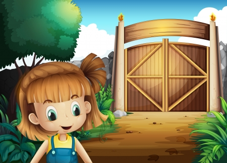 Illustration of a young girl inside the gated yard Stock Vector - 21658783