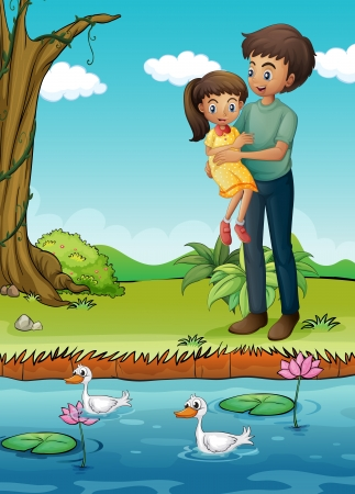 Illustration of a young girl and her father at the riverbank Vector
