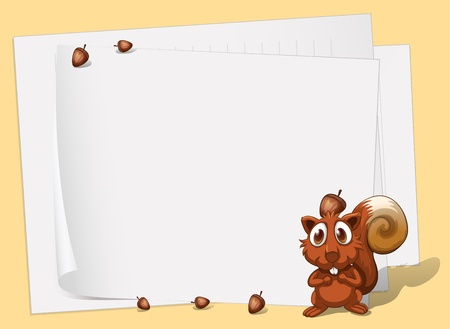 blank space: Illustration of a squirrel in front of the empty papers