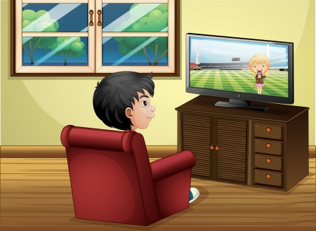 tv room: Illustration of a young boy watching TV at the living room