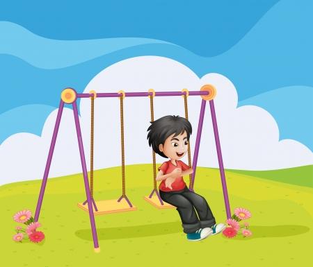 Illustration of a boy swinging alone Vector