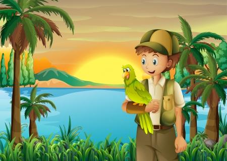강둑: Illustration of a boy with a parrot at the riverbank