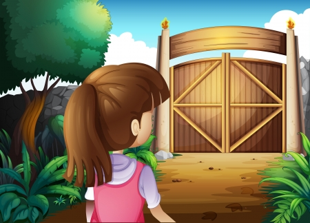 frontyard: Illustration of a young girl with a pink shirt going to the gate Illustration