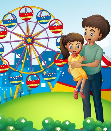hillside: Illustration of a father with his daughter at the carnival Illustration