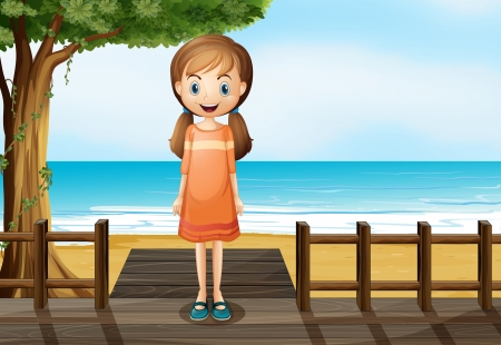 pigtails: Illustration of a smiling young girl standing at the wooden bridge