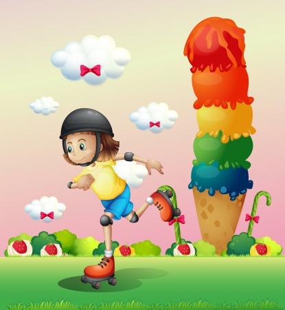 Illustration of a girl rollerskating at the candyland Vector