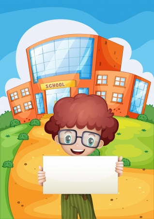 menu land: Illustration of a boy holding an empty signage standing in front of the school