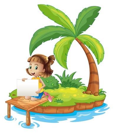 Ilustración de una niña en la isla con una señalización vacío sobre un fondo blanco