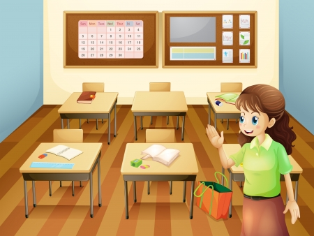 supplies: Illustration of a teacher inside the classroom Illustration