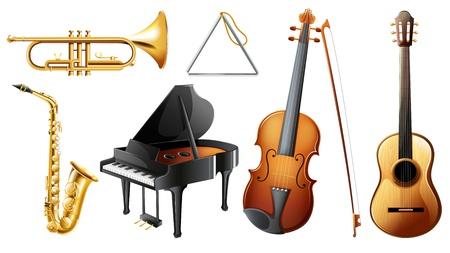 instrumentos musicales: Ilustraci�n del conjunto de instrumentos musicales en un fondo blanco Vectores